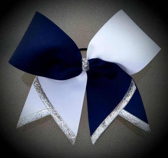 Navy blue, silver, and white cheer bow