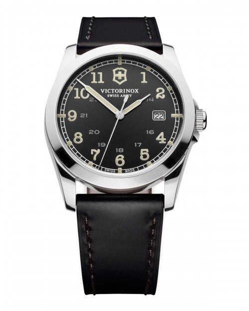 Victorinox+Infantry+Leather+Watch+Black+Swiss+Army+|+Jewelry+and+Accessory
