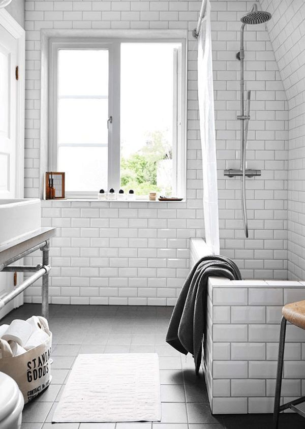Subway tiles and grey floor in the bathroom of an industrial inspired Swedish home. Jonas Gustavsson / Charlotte Frey Sviden.