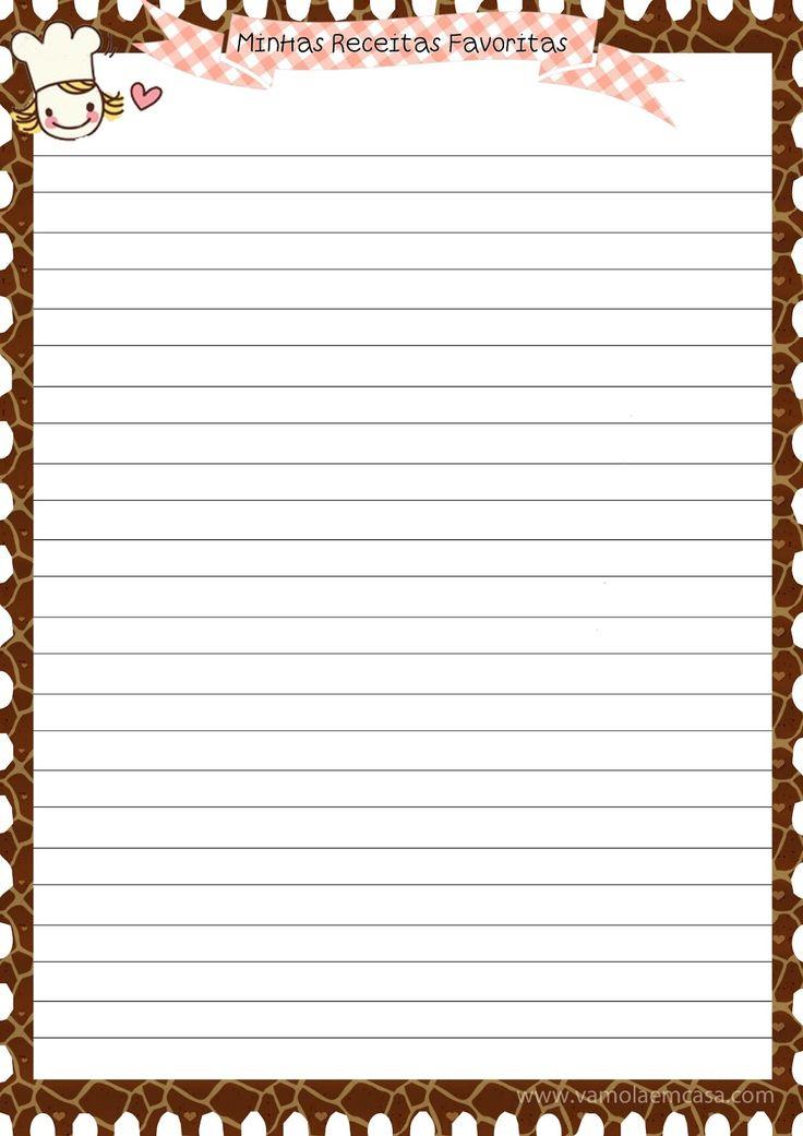 capas folhas caderno de receitas para imprimir grátis