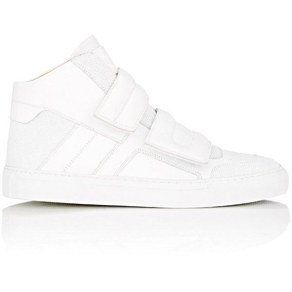 MM6 Maison Margiela Women's Women's Double-Strap Mid-Top Sneakers (£135) ❤ liked on Polyvore featuring shoes, sneakers, white, polka dot shoes, white leather trainers, wrap shoes, round toe sneakers and hooks shoes