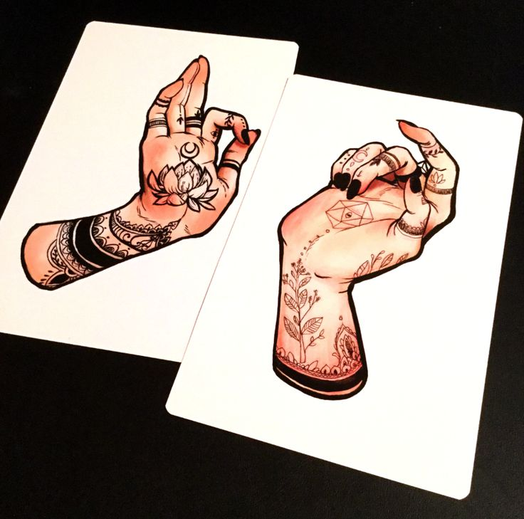 Two+5x7+giclee+print+of++tattooed+hands+on+high+quality+matte+stock+with+rounded+edges
