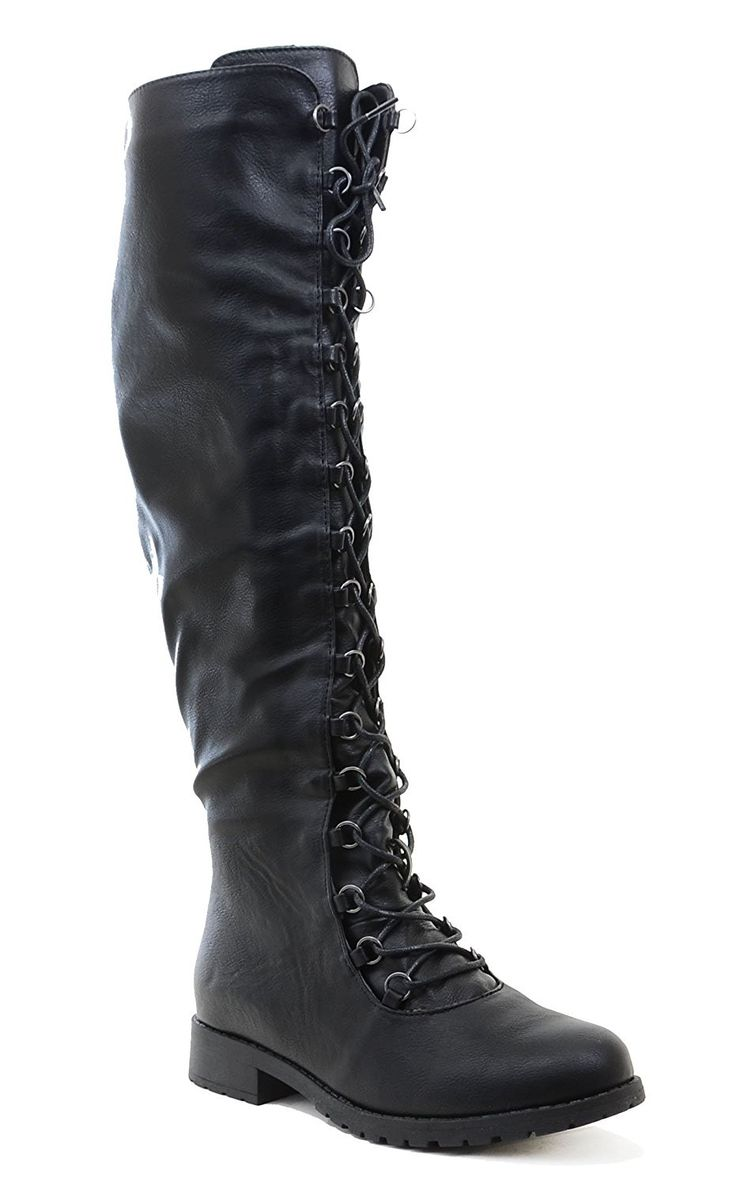 We love taking knee high to another level. This boot features front laces, inner zipper for closing, soft padding inside, and cushioned insoles. Add some edginess to your collection of knee his and st