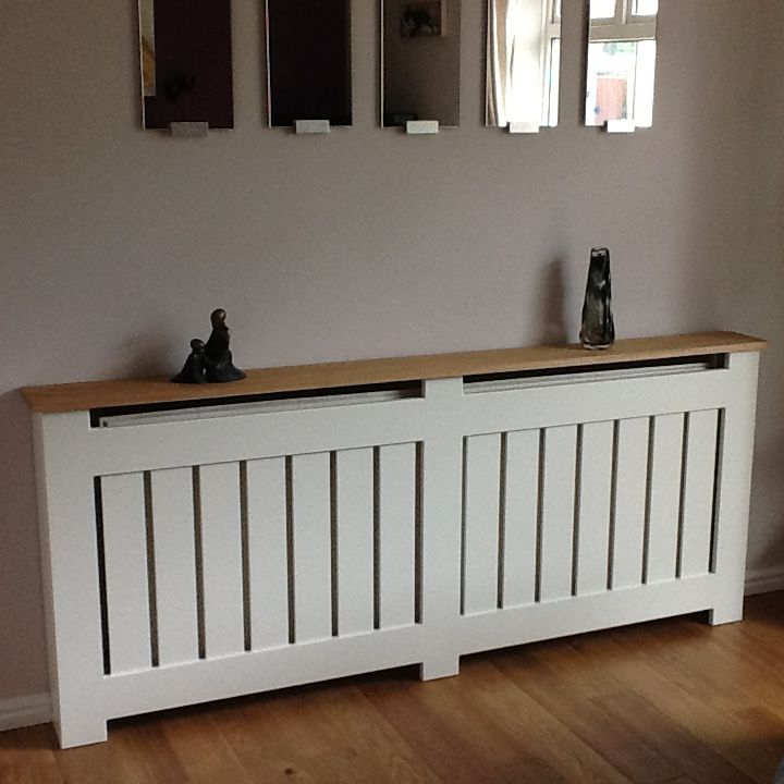 This beautiful Made to Measure vertical slatted Radiator Cover / cabinet with Oak Top