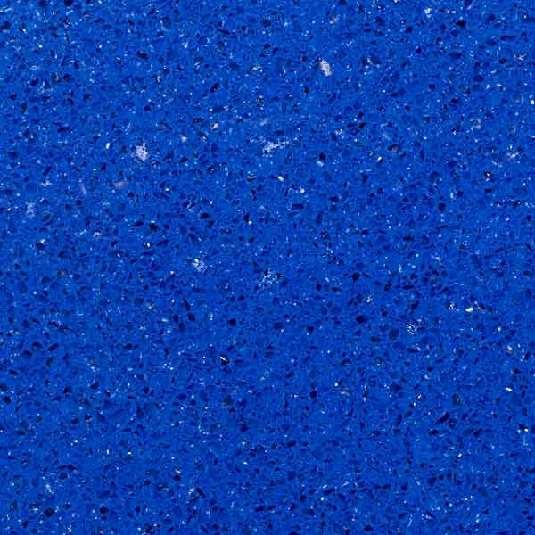 bright blue with translucent pieces quartz countertop Celestial Blue, Zodiaq by Dupont