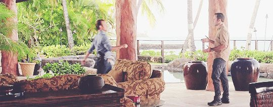 #alex and scott just being alex and scott while the camera happens to be rolling #def not two professionals greeting each other mid kidnap-case #bless their boots    #hawaii five 0 #mcdanno #scott caan #alex o'loughlin #h50: 7.20