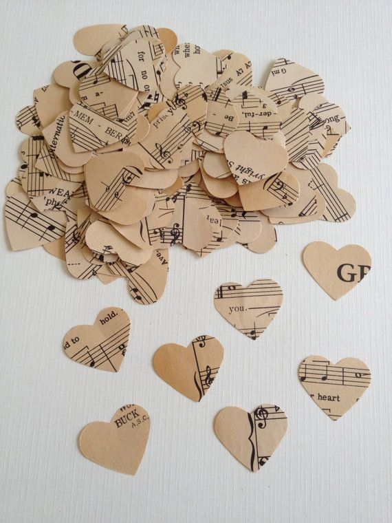 IVORY Confetti 1 Hearts 15 BAGS with 300 pcs. per bag  Vintage Sheet Music (discounted, normally $37.50)     These shown are a sample of what youll