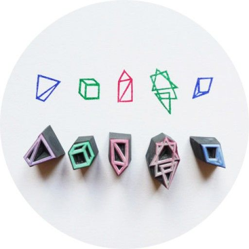 Geometry, Hand-carved Rubber Stamp Set