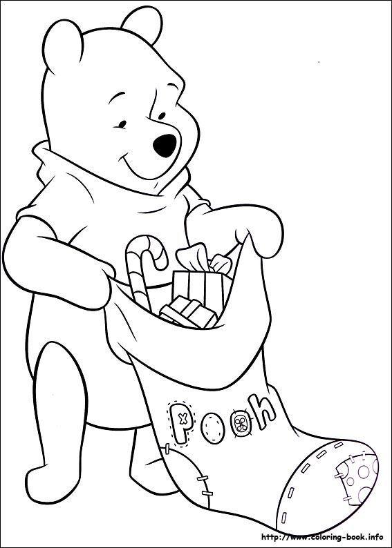 winnie pooh navidad para pintar | Disney coloring pages ...