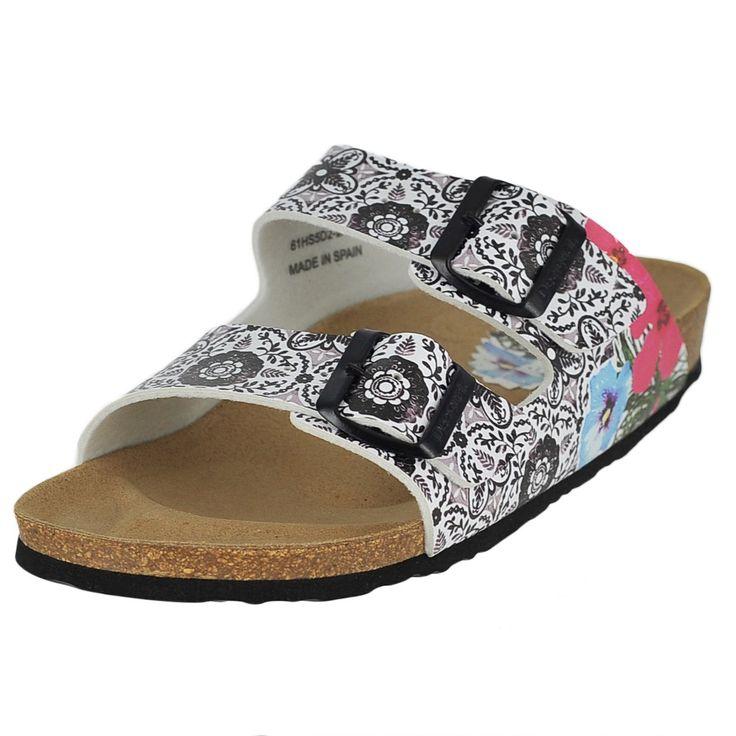 Desigual Bio 2 Multi Color Womens Slide Size 38M. floral. open-toe. buckle. Made in Spain.