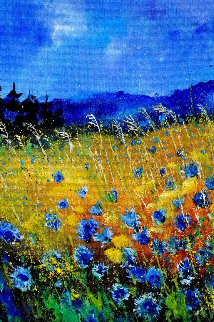 Saatchi art oil painting rural landscape at dawn painting by -  Corn Flowers By Pol Ledent Oil Painting Fantastic Use Of Color About The Artist Pol Ledent Born In Belgium 23 October 1952 Started Painting In 1989