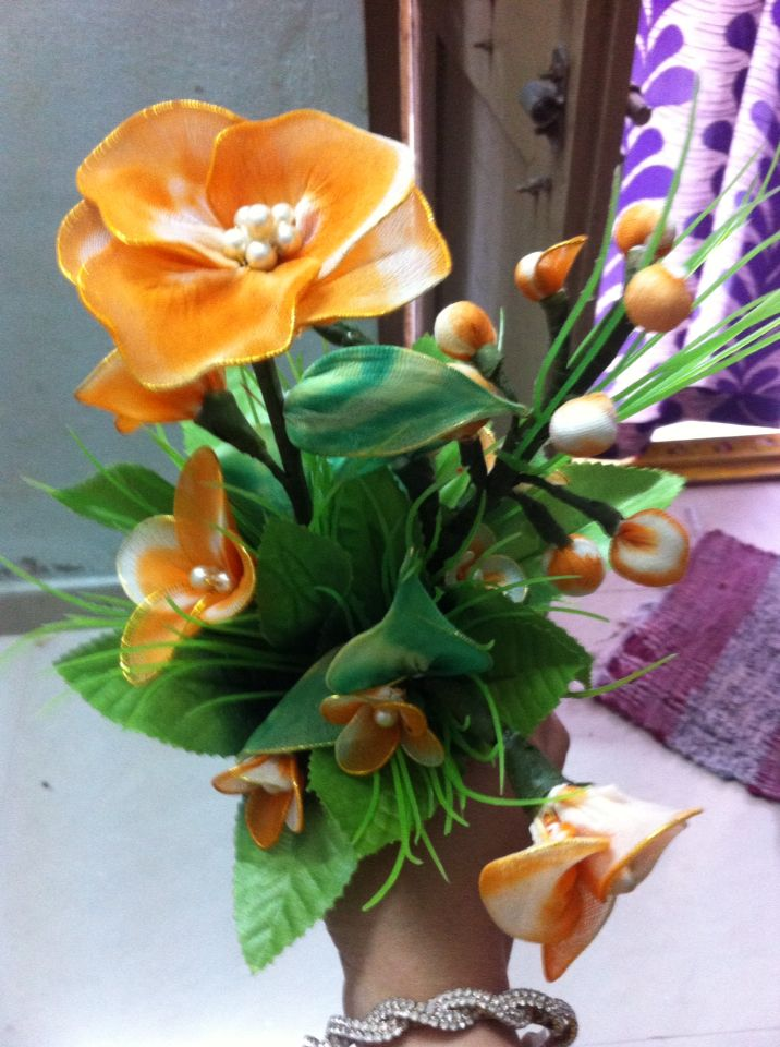 My handcraft nylon flowers