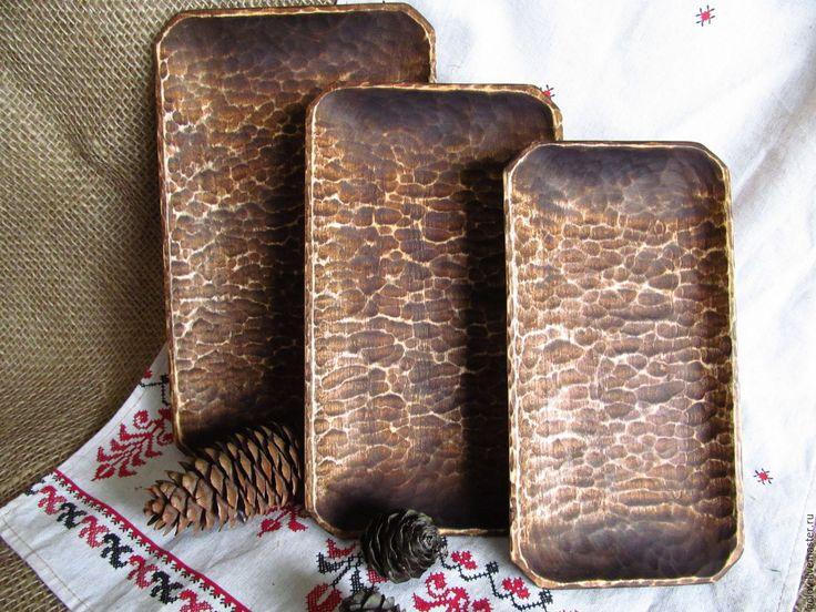 Купить Тарелки рубленные прямоугольный набор. - новогодний подарок, Новый Год, деревянные тарелочки