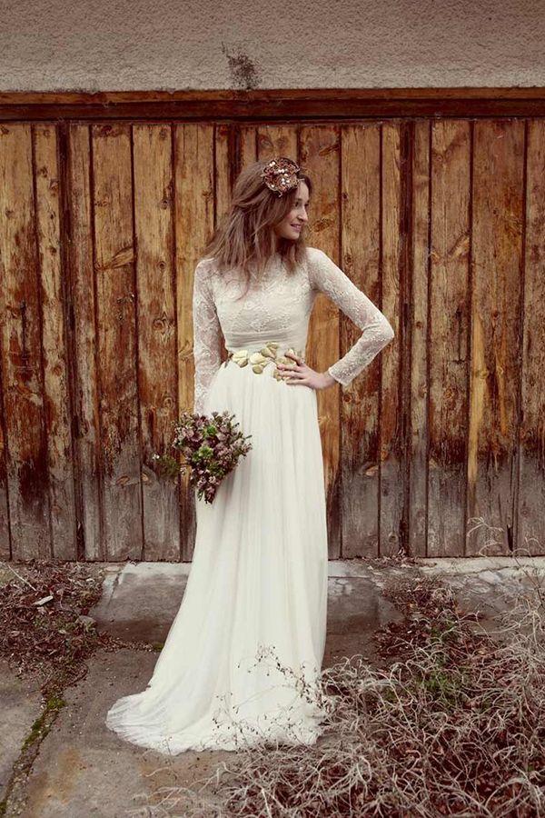 Pretty boho long sleeve wedding dress   http://www.weddingpartyapp.com/blog/2014/09/02/45-long-sleeved-wedding-dresses-for-fall-brides/