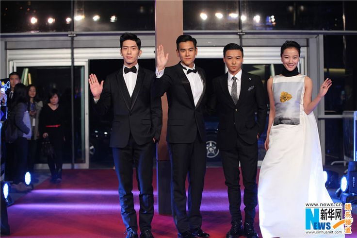 Actor Jing Boran, actor Eddie Peng, actor Max Zhang and actress Wang Luodan attend director Roy Chow's new movie 'Rise of the Legend' premiere on November 19, 2014 in Beijing, China.