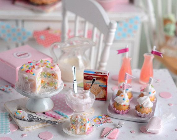 Miniature Confetti Cake and Cupcake Set by CuteinMiniature on Etsy