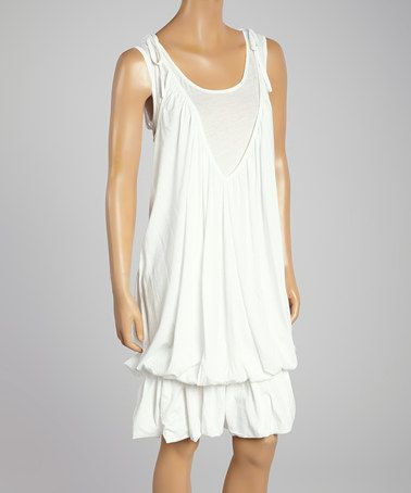 Another great find on #zulily! White Drape V-Neck Drop-Waist Dress by Karoo #zulilyfinds