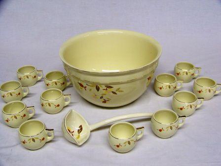 Autumn Leaf Jewel Tea Punch Bowl Set