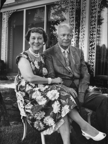 Former President Dwight D. Eisenhower and Wife Mamie on Lawn at Home