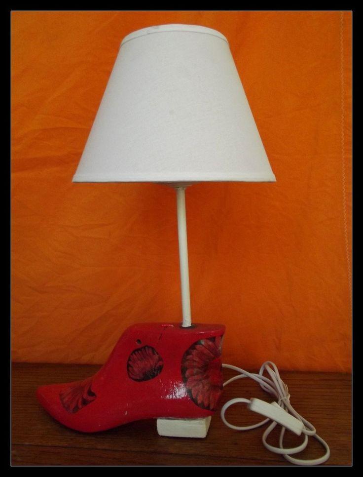Lampara Velador Hecha Con Orma De Zapato En Decoupage - $ 330,00 en MercadoLibre
