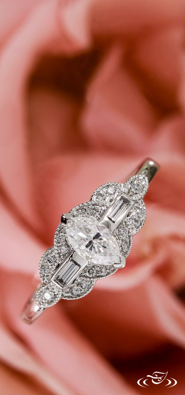 Art Deco Marquise Diamond Engagement Ring. Green Lake Jewelry