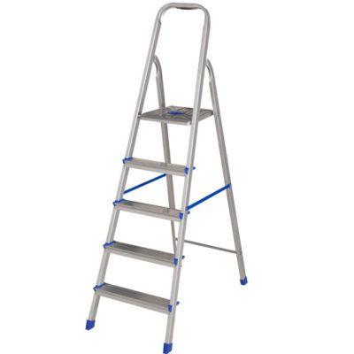 escada de aluminio com detalhes em azul