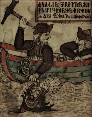 Thor and the Midgard serpent. Icelandic Edda manuscript.