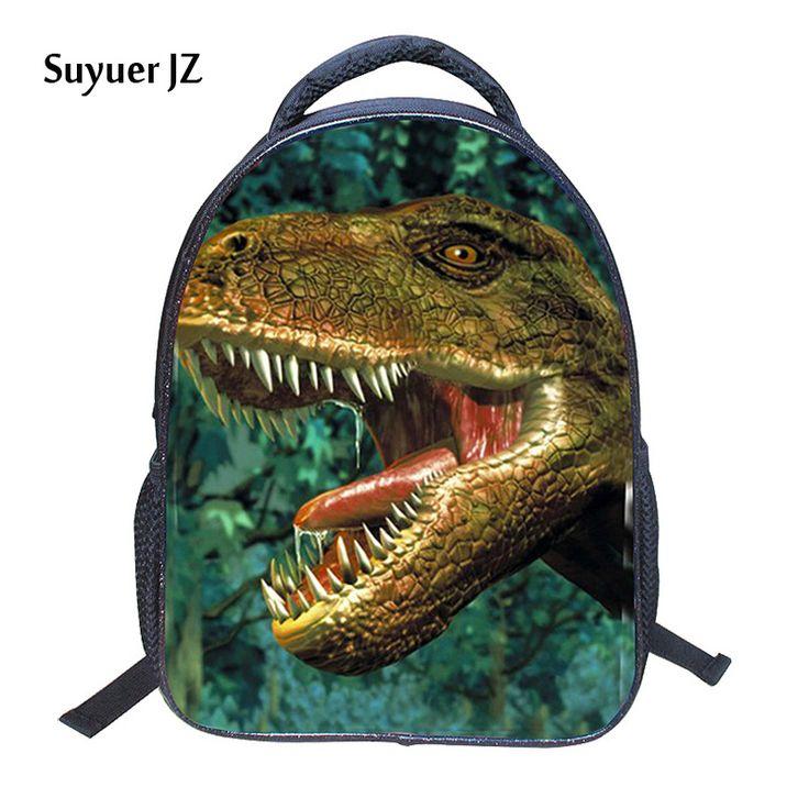 13-Inch 2017 Hot Children Animal Bag Dinosaur Backpacks For School Boys Girls Printed Tyrannosaurus Backpack For Kids Students
