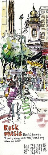 market-street-Rio - Lynne Chapman - Urban Sketchers Symposium 2014 in Paraty http://lynnechapman.blogspot.co.uk/2014/09/back-in-real-world.html