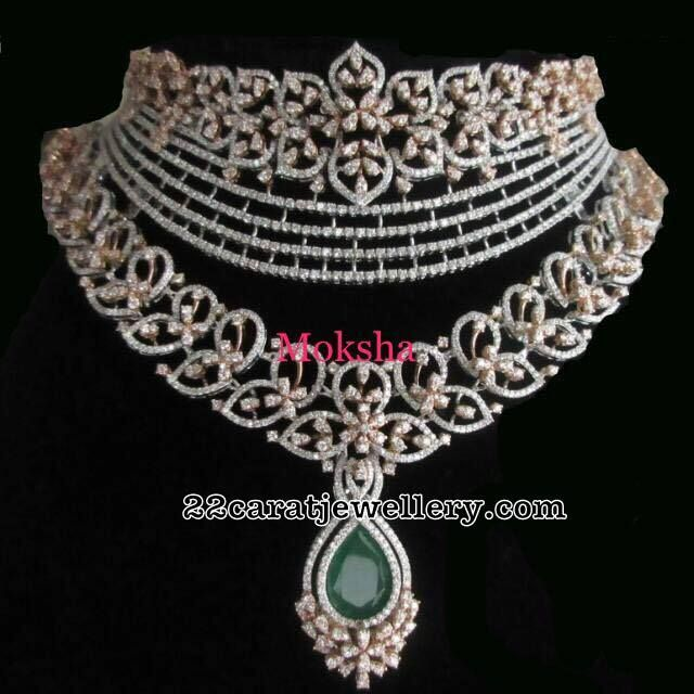 Two Step Diamond Necklace - Jewellery Designs