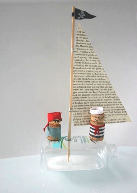 Cork sailors - pirates & book page boat and upcycled travel-size bottle. Cute.