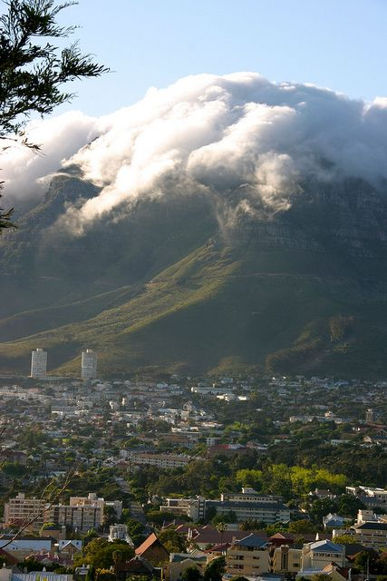 Clouds on Table Mountain, Cape Town, South Africa
