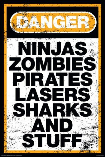 Danger Warning Sign Humor Ninjas Zombies Pirates 24x36 PosterDanger Warning Sign Humor Ninjas Zombies Pirates Lasers Sharks.. 24x36 Poster. Will ship rolled and ships fast!