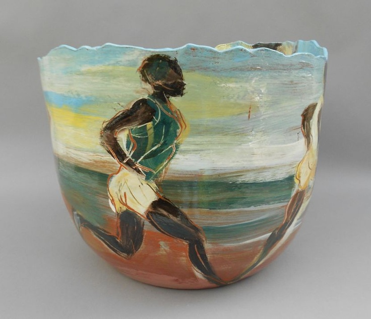 The athletics has begun! And so this piece by Jitka Palmer seemed quite appropriate. (Image: Running, earthenware & slips, 35cm diameter)