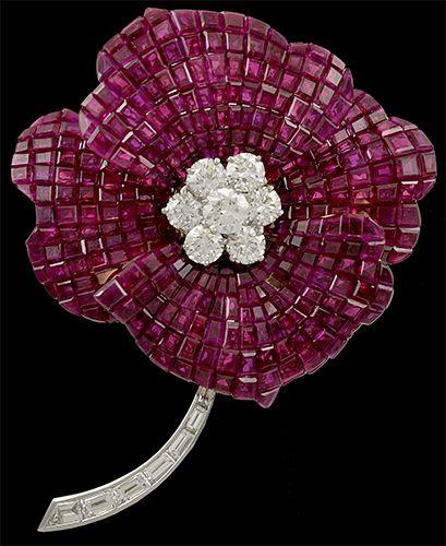 OSCAR HEYMAN Two Tone Invisible Set Ruby and Diamond Flower Brooch - Yafa Jewelry