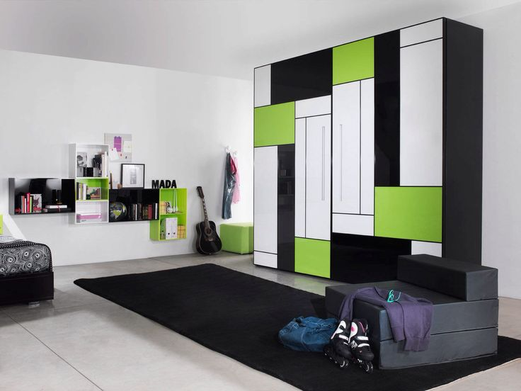 Kids Room Modern Neutral White Wall Paint Color For Boys Bedroom With Cool Green Black Wardrobe Design Ideas Painting