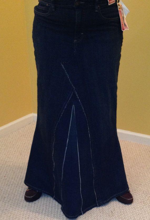 Plus Size 18W Long Frayed Denim Skirt by ChrystalLily on Etsy ...