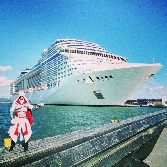 You may have those flimsy pirate ships, Edward, but I travel in style #CruiseShip #MSC #Fantasia #Genoa #Italy #Luxury