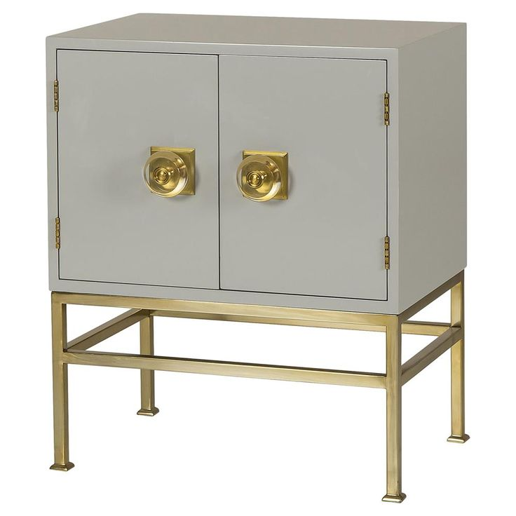 Keane Modern Classic Brass Grey Nightstand | Kathy Kuo Home