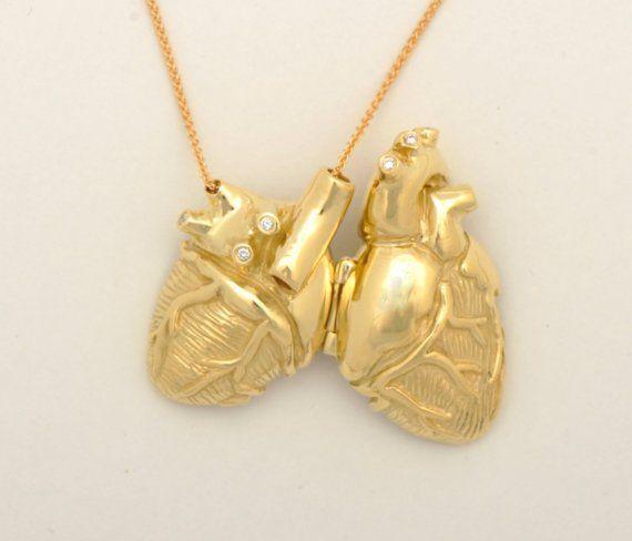 18k Gold and Diamond Anatomical Heart Locket by heronadornment