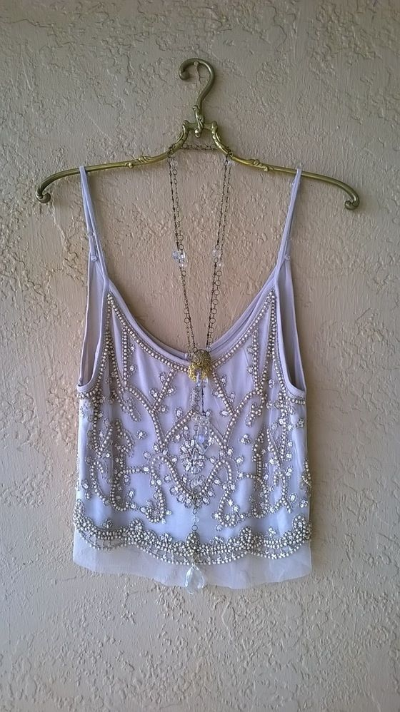 Image of Anthropologie holiday blush pink beaded romantic camisole for sparkle new year