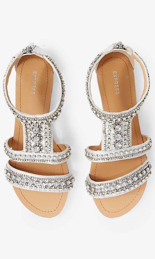 Rhinestone Embellished Metallic Sandal | Express