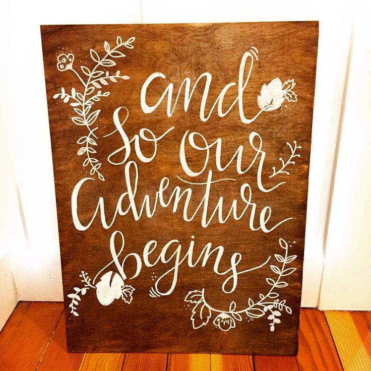 |And so our adventure begins| Wood Wedding Sign
