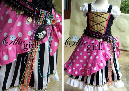 "As we prepare for our first Disney Cruise, I'm thinking of what to make my daughter to wear for the ""Pirate Night"" celebration... this is my inspiration piece, although she's asked for shades of blue to complement the black and white stripes... wonder what the finished product will look like?"