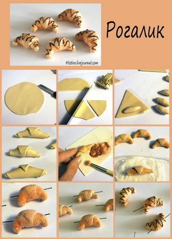 French Croissant tutorial in polyclay - the link no longer goes anywhere, but the photo should be enough.