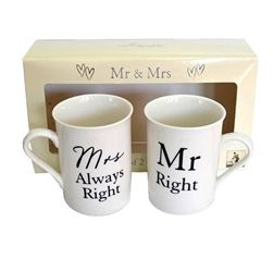 Novelty Mr. and Mrs. Mug Set! 'Mr. Right' and 'Mrs. Always Right' - a sweet and funny gift for the happy couple! Wowwee.ie: €20.00