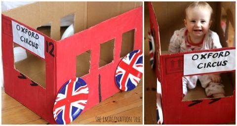 london bus cardboard box
