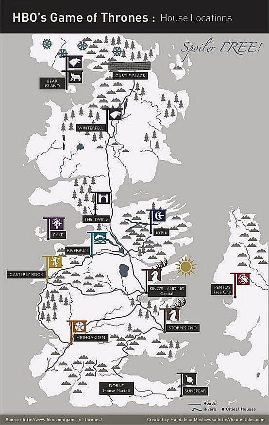 Houses Map | Game of Thrones | Pinterest