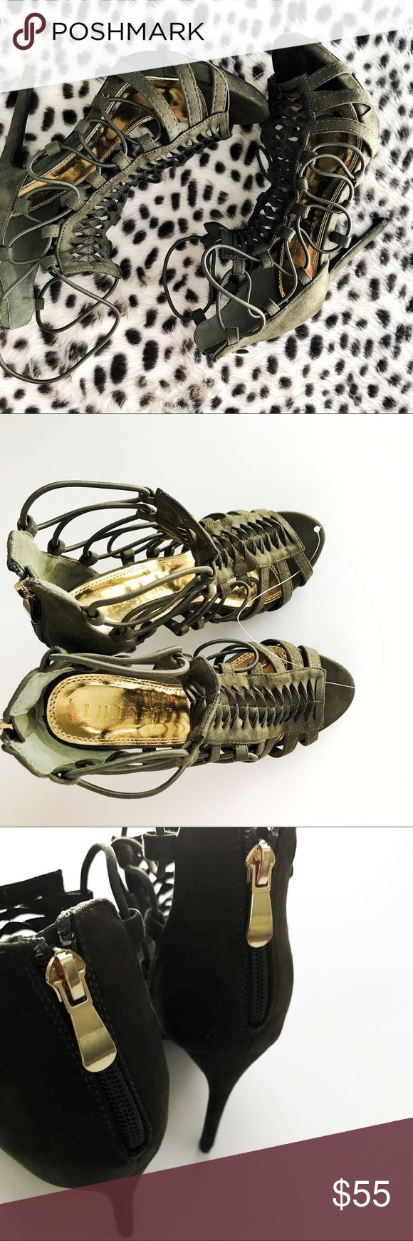 Olive green strap lace up sandal heels No trades Shoes Heels