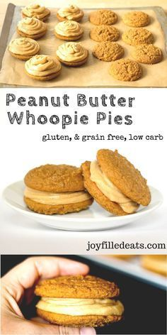 Peanut Butter Whoopie Pies. Two tender cakey cookies sandwiched with peanut butter buttercream frosting. Low Carb, Grain Free, Gluten Free.
